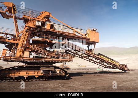 the conveyor in coal opencast - Most - Czech Republic - Stock Photo