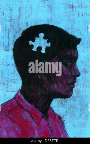 Illustrative image of man with missing piece of jigsaw representing memory loss - Stock Photo