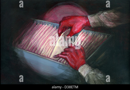 Illustration image of red handed thief stealing document - Stock Photo