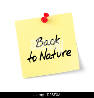 Yellow paper note with text Back to Nature - Stock Photo