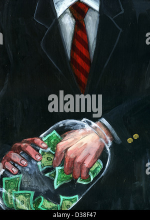 Illustrative image of businessman's hand stuck in jar while removing money representing greed - Stock Photo