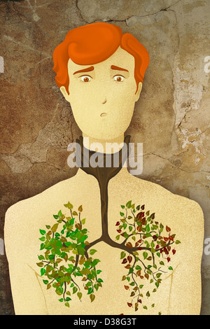Illustrative concept of man tree growing in chest representing lung cancer - Stock Photo