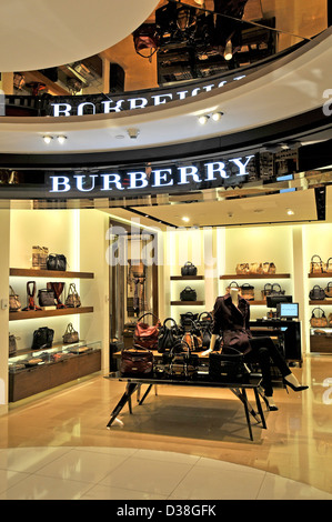 Burberry boutique duty free shop Abu Dhabi international airport - Stock Photo