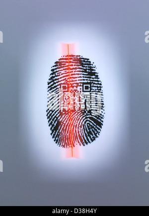 Fingerprint and QR code in scanner - Stock Photo
