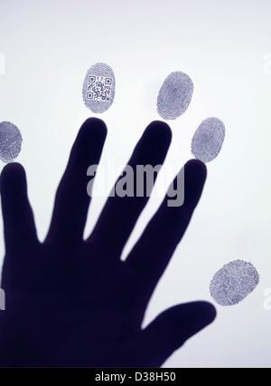 Hand leaving QR code in fingerprint - Stock Photo