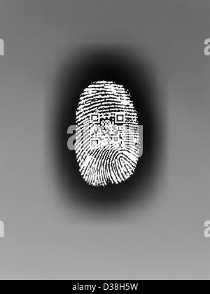 QR code in finger print - Stock Photo
