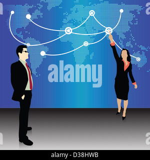 Illustrative representation showing the global expansion of Indian business - Stock Photo