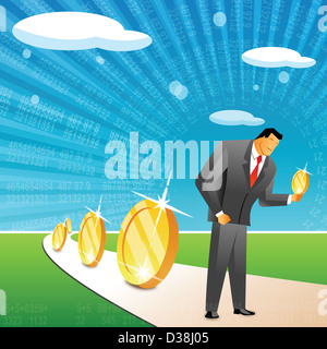 Businessman holding a coin - Stock Photo