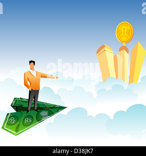 Businessman traveling on a paper airplane and pointing towards skyscrapers over the clouds - Stock Photo