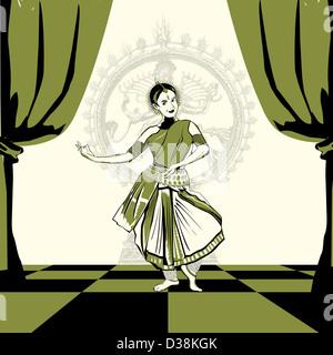 Woman performing Bharatnatyam the Indian classical dance - Stock Photo