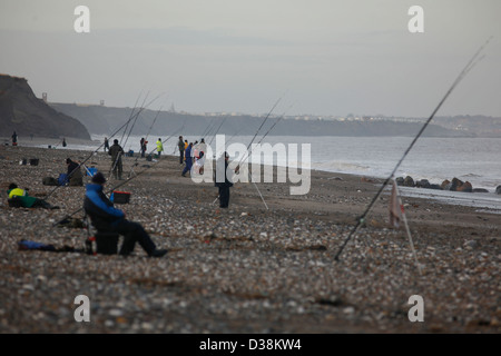 Sea fishing off the beach at Mappleton , East Riding of Yorkshire - Stock Photo