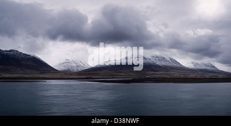 Clouds and mountains in rural landscape - Stock Photo