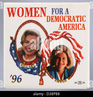 A 1996 United States presidential campaign button pin showing First Lady Hillary Rodham Clinton and Tipper Gore - Stock Photo