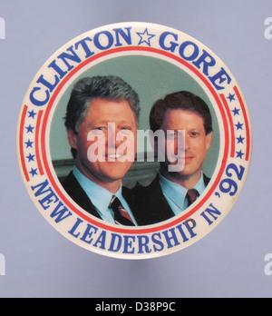 A round 1992 United States presidential campaign button pin for democratic candidates Bill Clinton and Al Gore - Stock Photo