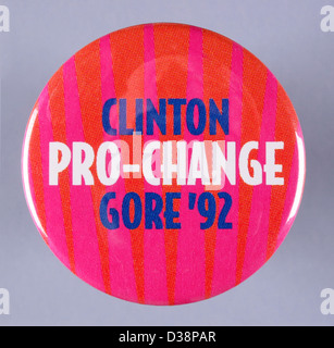 1992 United States presidential campaign button pin for democrats Bill Clinton and Al Gore - Stock Photo