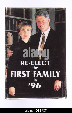 A 1996 United States presidential campaign button pin with Bill Clinton and First Lady Hillary Rodham Clinton - Stock Photo