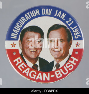 1984 U.S. presidential campaign button pin showing Ronald Reagan and George H. W. Bush - Stock Photo