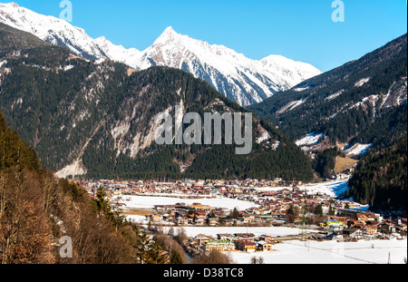 Mayrhofen ski resort in Zillertal Alps in Austria - Stock Photo