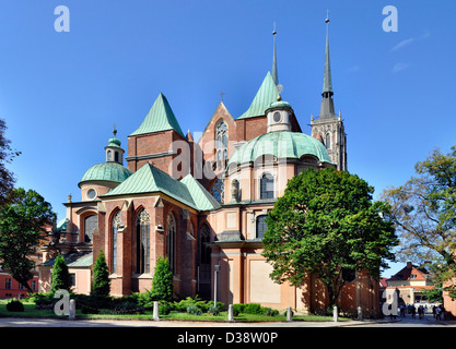 Gothic cathedral in Wroclaw, Poland - Stock Photo
