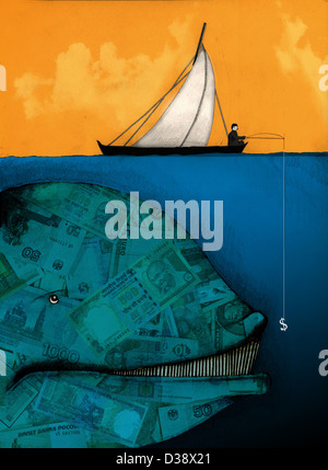 Businessman fishing for a large money whale - Stock Photo