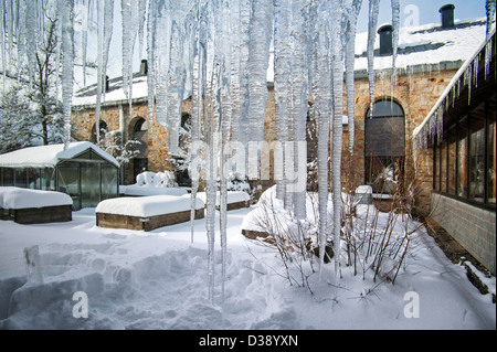 Icicles hanging from gutter at the Nature Center of Botrange in the High Fens / Hautes Fagnes, Belgian Ardennes, - Stock Photo