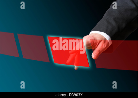 well dressed hand is pushing a red button - Stock Photo
