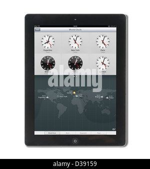 The World Clock on a 4th generation Apple iPad tablet computer - Stock Photo