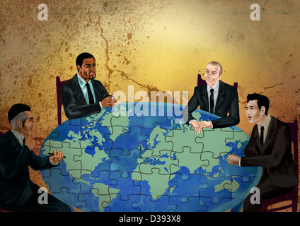 Businessmen discussing on global business - Stock Photo