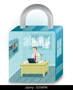 Illustration of business man working in a lock shaped room - Stock Photo