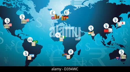 Illustration shot of currency symbols representing countries in a world map - Stock Photo