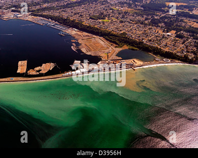 an aerial photo of the Nippon Paper Industries USA Company paper mill at Port Angeles in Washington State USA - Stock Photo