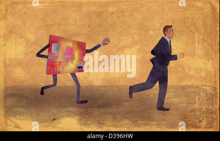 Exhausted businessman running away from credit card - Stock Photo