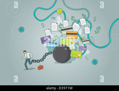 Illustrative shot of businessman tied up to a ball and chain trying to run away from his dues - Stock Photo