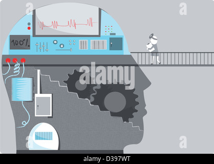 Mechanic with human head consisting of machinery and graph depicting brain mechanism - Stock Photo