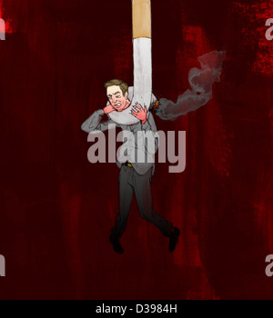 Man trapped from cigarette depicting the concept of smoking kills - Stock Photo