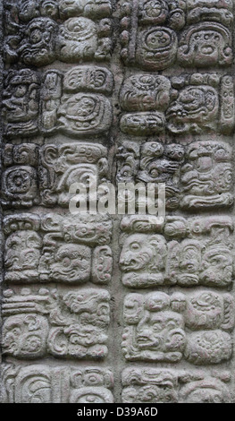 Stonework at the ruins of the Mayan City of Copan in modern day Honduras, Central America - Stock Photo
