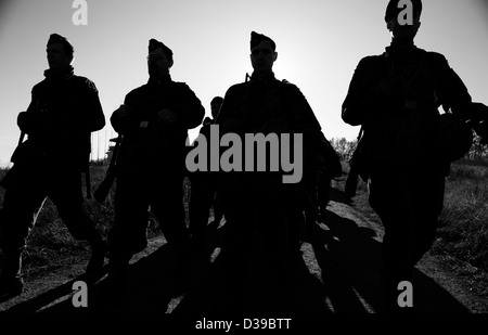 Silhouettes of Nazi soldiers - Stock Photo