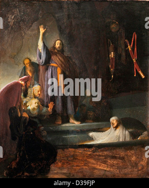 Rembrandt van Rijn, The Raising of Lazarus. 1631 Oil on panel. Baroque. Los Angeles County Museum of Art. - Stock Photo