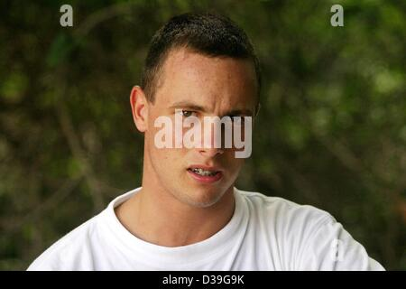 File Pics: PRETORIA, SOUTH AFRICA: Portrait of South African double-amputee sprinter Oscar Pistorius on 18 January - Stock Photo