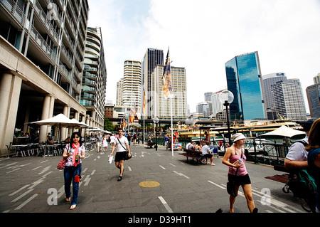 People walking/running around Circular Quay, Sydney, Australia - Stock Photo