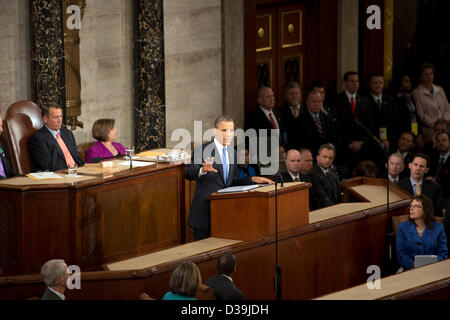 United States President Barack Obama delivers his State of the Union Address to a Joint Session of Congress in the - Stock Photo