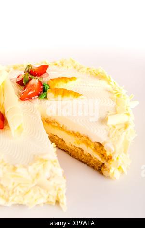 Carrot cake light healthy option marzipan decoration almonds - Stock Photo