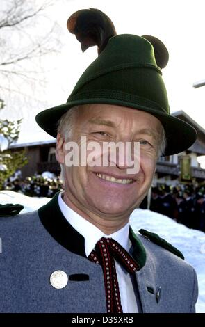In costume bavarian Prime Minister and leader of the CSU party Edmund Stoiber attends an event of a millitary unit. - Stock Photo