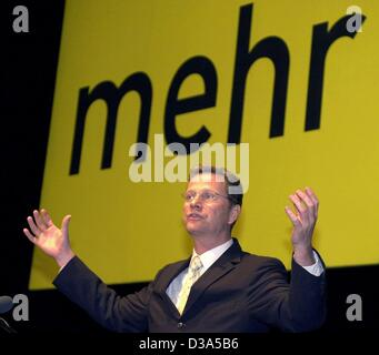 (dpa files) - Guido Westerwelle, Chairman of the German liberal party FDP, delivers a speech in front of the word - Stock Photo