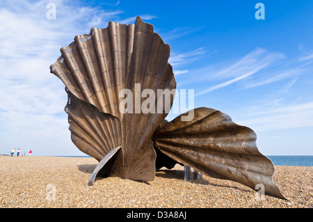 The Scallop at Aldeburgh Beach scallop shell steel sculpture by the artist Maggi Hambling Aldeburgh beach Suffolk - Stock Photo
