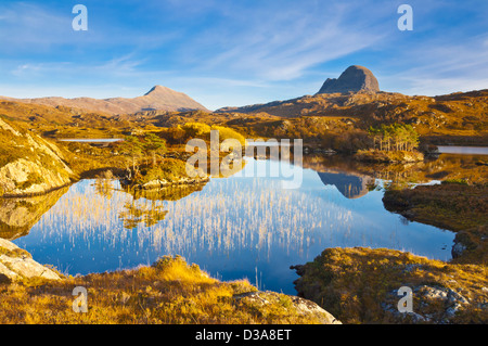 Two mountains of Suilven and Canisp from Loch Druim Suardalain, Sutherland, North west Scotland, UK, GB, EU, Europe - Stock Photo