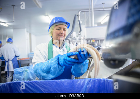 Worker handling fresh fish fillet in factory - Stock Photo