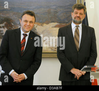 Czech Interior Minister Jan Kubice (right) and his German counterpart Hans-Peter Friedrich are seen during a press - Stock Photo