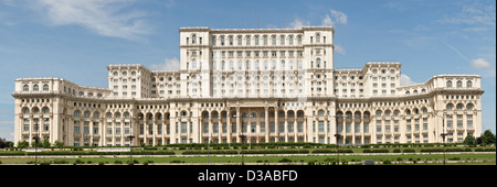 Largest building in Europe, to Romanian parliament in Bucharest - Stock Photo