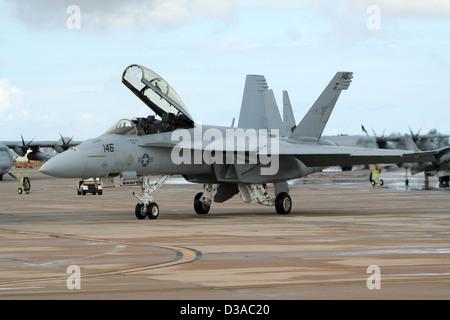 US Marines F/A-18E Super Hornet at the Airshow at the Marine Corps Air Station Miramar, California Stock Photo